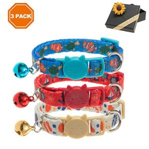 PAWCHIE 3 Pcs Breakaway Cat Collar with Bell Adjustable Collar Set with Ocean Pattern Designer for Kitten 7-11 Inches 3