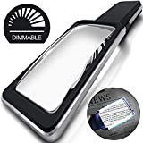 MagniPros 3X(300%) Magnifying Glass with [10 Anti-Glare & Dimmable LEDs]-Evenly Lit Viewing Area-The Brightest & Best Reading Magnifier for Small Prints, Low Vision Seniors, Macular Degeneration