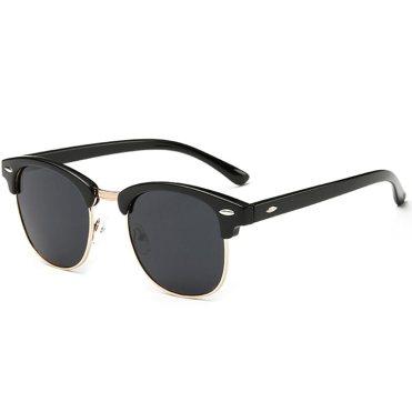 Joopin Semi Rimless Polarized Sunglasses Women Men Brand Vintage Glasses Plaroid Lens Sun Glasses (Matte Black Frame Grey Lens)