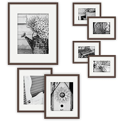 Gallery Perfect 7 Piece Walnut Photo Frame Wall Gallery Kit ...