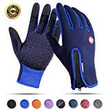 Achiou Touch Screen Gloves for Winter Warm iPhone iPad Bicycling Cycling Driving Anti-Slip Gloves Running Climbing Skiing Outdoor Sports for Men Women (Blue #1, XL)