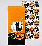 Celebrate Together Embroidery Black Cat Decorative Cotton Kitchen Bath Towels, Set of 2
