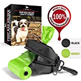 Dog Bag Dispenser - Pet Waste Bag Holder Leash Attachment - Includes one Free Roll of Poop Bags - Zippered Pouch, Hook&Loop Straps and Carabiner Clip for Easy Carry (Black)