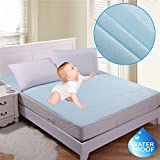 RIte Clique Babycare 100 % Waterproof Mattress Protector Double Bed King Size Cover (Blue, 72'X78'X Elastic Strap 5')