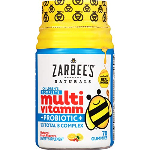 Zarbee's Naturals Children's Complete Multivitamin + Probiotic Gummies with Our Total B Complex and Essential Vitamins, Natural Fruit Flavors, 70 Gummies