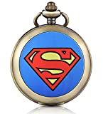 Carrie Hughes Superman Mechanical skeleton Hand Winding Pocket watch with chain Fob for Men Woman CHPW47