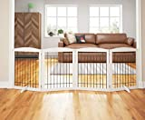 PAWLAND 96-inch Extra Wide Dog gate for The House, Doorway, Stairs, Freestanding Foldable Wire Pet Gate, Pet Puppy Safety Fence,Set of Support Feet Included(White, 30' Height-4 Panels)