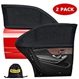 Peyou Car Window Shade,【2019 Upgrade Version】Breathable Mesh Car Rear Side Window Shade-Universal Fit for Most(95%) of Cars-Protect Kids Pet from The Sun-Cover Full Windows-Travel E-Book-2 Pack
