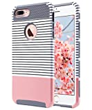 ULAK iPhone 7 Plus Case, Slim Dual Layer Protection Scratch Resistant Hard Back Cover Shock Absorbent TPU Bumper Case for Apple iPhone 7 Plus 5.5 inch Minimal Rose Gold Stripes+Grey