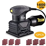 TECCPO Sheet Sander, 14,000 OPM Sheet Orbital Sander & 12 Pcs Sandpapers, Palm Size with Dust Collection Bag, for Removing Paint, Polishing, Sanding Down & Finishing Wood (sheet 22P)