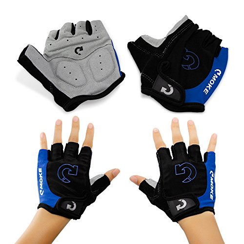 """GEARONIC TM New Fashion Cycling Bike Bicycle Motorcycle Shockproof Foam Padded Outdoor Sports Half Finger Short Gloves - Blue """"L"""""""