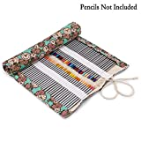 BTSKY Canvas 108 Slot Pencil Roll Wrap-Pencil Pouches Holder Fit for Prismacolor Premier Colored Pencils (108 Slots Rose Clock)