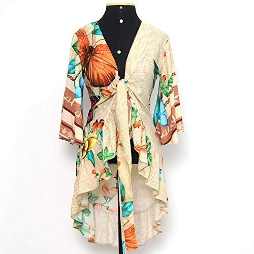 Blusa floral cropped mullet Tamanho:M; Cor:Bege