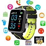 Kids Smart Watch Music - MP3 Music Player Wrist Watch Phone for Boys Girls Touch Screen LBS Tracker Pedometer FM Bluetooth SOS Remote Monitor Camera Class Mode[1GB Micro SD Included] (Music Black)