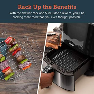 COSORI-Air-Fryer-100-Recipes-Rack-4-Skewers-9-Presets-Stainless-Steel-Oven-Oilless-Cooker-PreheatAlarm-Reminder-Nonstick-Basket-37QT-Silver