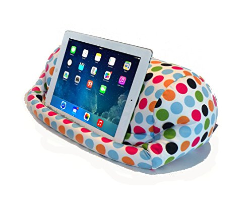 Lap PRO - Stand/Caddy, Universal Beanbag Lap Stand for iPad Pro, iPad Air,1,2,3 & All Tablets, E-Readers, Books & Magazines - Bed, Couch, Travel - Adjustable Angle; 0-89 deg. (Polkadot)