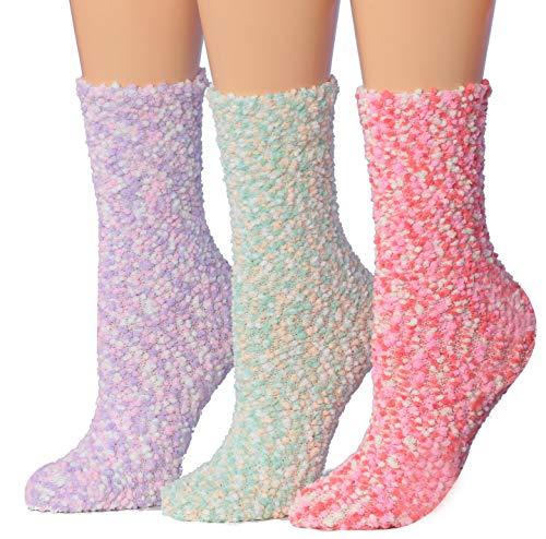 Tipi Toe Women's 3-Pairs Cozy Microfiber Anti-Skid Soft Fuzzy Crew Socks FZ20-A