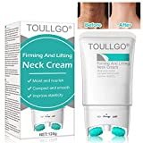 Neck Firming Cream, Neck Wrinkle Cream, 2 in 1 Roller Massage Neck Cream Anti Aging Wrinkle Moisturizer for Neck & Décolleté, Skin Massager Roller, Tightening & Lifting Sagging Skin, Repair Crepe Skin