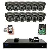 GW Security 16 Channel 5MP NVR IP Camera Network PoE Surveillance System with 12-Piece HD 1920P Weatherproof Dome Cameras - Grey
