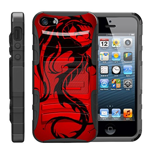 TurtleArmor | Compatible for Apple iPhone SE Case | iPhone 5/5s Case [Hyper Shock] Hybrid Dual Layer Armor Holster Belt Clip Case Kickstand - Red Dragon