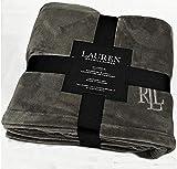 Ralph Lauren Classic Charcoal Gray Micromink Plush All Season Blanket | Full/Queen 90' x 90' | Machine Wash, Tumble Dry