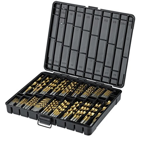 "Titanium Drill Bit Set for Metal - 230pc Kit - Coated HSS - From 1/16"" up to 1/2 Inch"