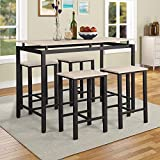 P PURLOVE 5Pcs Dining Set Modern Style Wooden Kitchen Table and Chairs with Metal Legs, Beige