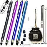{Upgrade Version} 4Packs Premium Branded Styli/Stylus, MeKo[0.22-inch Rubber Tip Series] 5.5 L Replaceable Thin-Tip Stylus For all Touch Screen Smart Phones &Tablets - 4Pcs (Black&Dark Blue&Purple&Ocean Blue) + 4 Extra Replaceable Soft Rubber Tips and 2 X 15 Detachable Elastic Lanyards