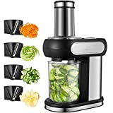 Spiralizer Vegetable Slicer, Aicok Electric Vegetable Spiralizer with 4 blades, Perfect for Zucchini, Noodles, Salad and Carrots, Stainless Steel Spiral Slicer, 100W