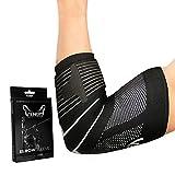 Venom Strapped Elbow Brace Compression Sleeve - Elastic Support, Tendonitis Pain, Tennis Elbow, Golfer's Elbow, Arthritis, Bursitis, Basketball, Baseball, Golf, Lifting, Sports, Men, Women (Medium)