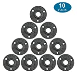 10Pcs 1/2-INCH Floor Flange Industrial Steel Malleable Cast Iron Pipe Fittings Retro Decor Furniture DIY BSP Threaded Hole By E-UNIONA