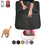 """WePet Cat Litter Mat, Litter Trapping Mat, 30 x 25"""" Large Size, Honeycomb Double Layer Design, No Phthalate, Water Urine Proof, Easy Clean, Scatter Control, Litter Catcher Locker, Kitty Litter Box Rug"""