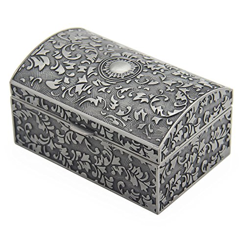 Vintage Metal Jewelry Box Small Trinket Storage Organizer Box Chest Ring Case for Girls Women, Tin Color