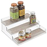 interDesign 34582 Twillo Plastic Stadium Spice Rack, 3-Tier Organizer for Kitchen Pantry, Cabinet, Countertops, Vanity, Office, Craft Room, 9.2' x 10' x 4', Metallico and Clear