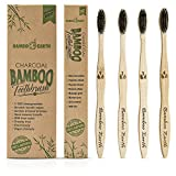 Bamboo Charcoal Toothbrush - Natural Biodegradable And Organic With 100% Eco Friendly BPA Free Bristles Smooth Wood Handle And Zero Waste Packaging - Pack Of 4 Wooden Vegan Toothbrushes By BAMBOEARTH