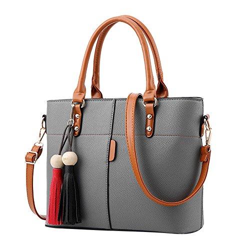 Londony Fashion Bag, Womens Handbags and Purses Handbags Ladies Shoulder Bags Designer Satchel Tote Bag Gray