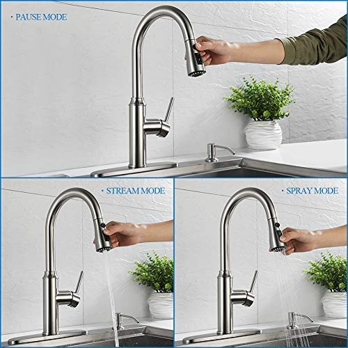 Kitchen faucet pull down-Arofa A01LY commercial modern single hole single  handle high arc stainless steel brushed nickel kitchen sink faucets with ...