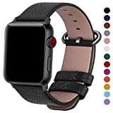 Fullmosa Compatible Watch Band 44mm 42mm 40mm 38mm,Genuine Leather Band Compatible Watch Band, 44mm 42mm Black + Gunmetal Buckle