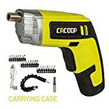 CACOOP Electric cordless Screwdriver Rechargeable Set(CSD04002), with Built-in 4V MAX Li-ion Battery, Included 2) Bit Holders, 24)1 inch Bit, 1) USB Charge Cable & Soft Carry Bag