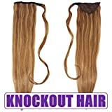 """Human Hair Ponytail Extension Wrap 20"""" 100% Real Remy Premium Grade AAAAA 80 Grams Long Straight Human Hair Silky Soft by Knockout Hair (#07A/07B Light Natural Brown/Dark Blonde Mix)"""