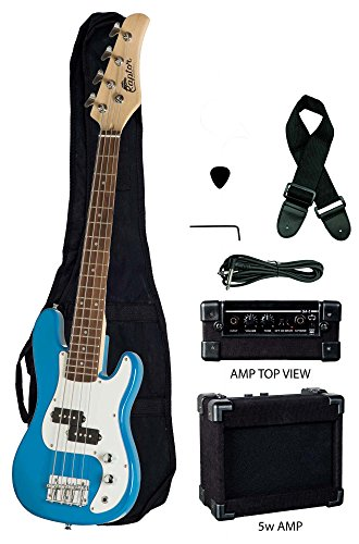 Raptor 3/4 Size 38 Inch Kids Child 4 String Electric P Bass Package - BLUE with 5W Amp, Gig Bag, Strap, Cable, Pick
