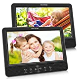 WONNIE 10.5' Dual Screen DVD Player Portable CD Players for Car with 5-Hour Rechargeable Battery, USB/SD/MMC Support, Play a Same or Two Different Movies (2 X DVD Player)