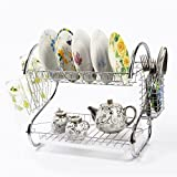 2 Tiers Kitchen Dish Cup Drying Rack Holder Organizer Drainer Dryer Tray Cutlery