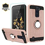 LG Phoenix 2 Phone Case, LG Escape 3 Case with HD Screen Protector,Atump 360 Degree Rotating Ring Holder & Kickstand Bracket Cover Phone Cases for LG K8 2016 Rose Gold
