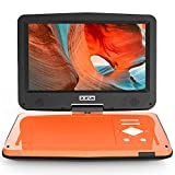 BOIFUN 12.5' Portable DVD Player with 5 Hours Rechargeable Battery, 10.5' HD Swivel Screen, Dual Earphone Jack & High Volume, Support CD/DVD/SD Card/USB, Region-Free, Orange