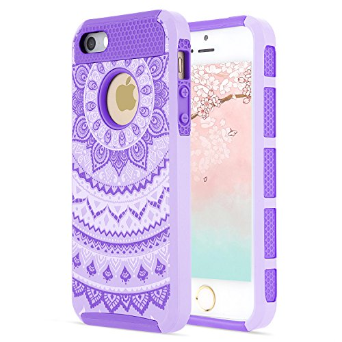 iPhone 6S Case/iPhone 6 Case,Slim Hybrid Dual-Layer Soft Inner Silicone Hard PC Back iPhone Case iPhone 6S Cover, Bumper Shell Shockproof Denfender for Apple iPhone 6/6S Women Purple Floral Design