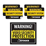 Defender SP102-SGN Indoor Video Security System Warning Sign with 4 Window Warning Stickers