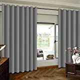 Blackout Wide Sliding Door Curtains - Privacy Room Divider Curtain Thermal Insulated Wide Drapes/Draperies for Bedroom with Grommet Top, Dove Gray, 8.3ft Wide x 7ft Tall One Panel