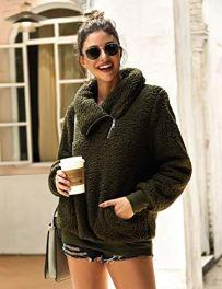 Women's Winter Lapel Sweatshirt Faux