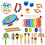 Musical Instruments Toys for Toddlers-15 Types Wooden Percussion Instruments for Kids with Adorable Backpack Storage Bag by Buself (25 PCS)